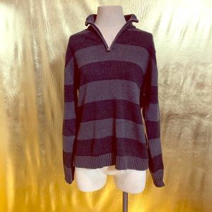 Vintage brand grey and black stripe sweater